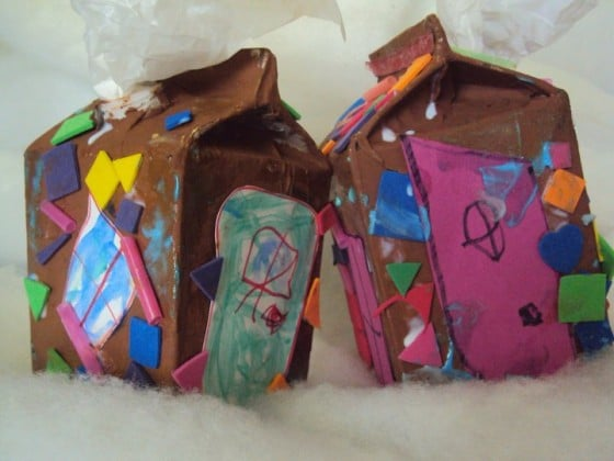 milk carton gingerbread house -