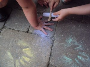 Chalk Dusting - a simple outdoor play activity