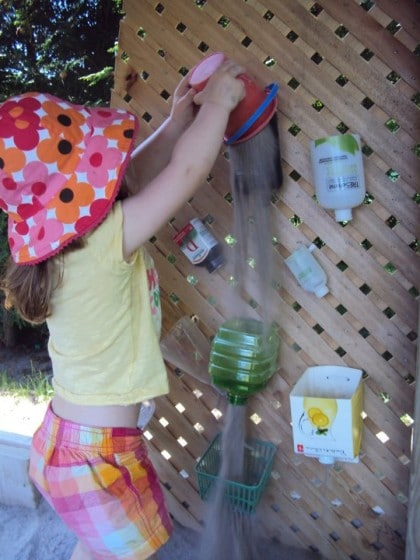 homemade sand wall for a fun sand box activity