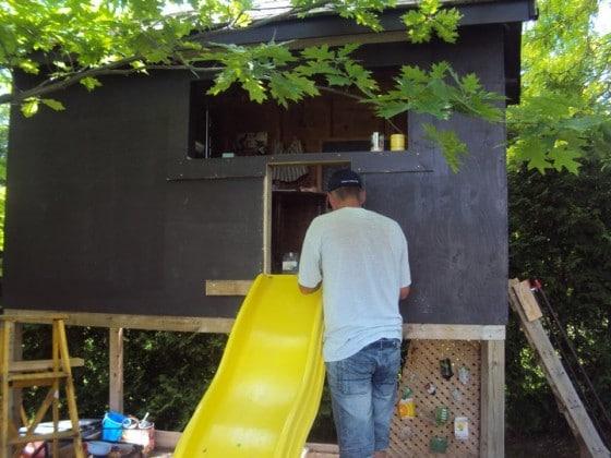 playhouse makeover - adding a slide