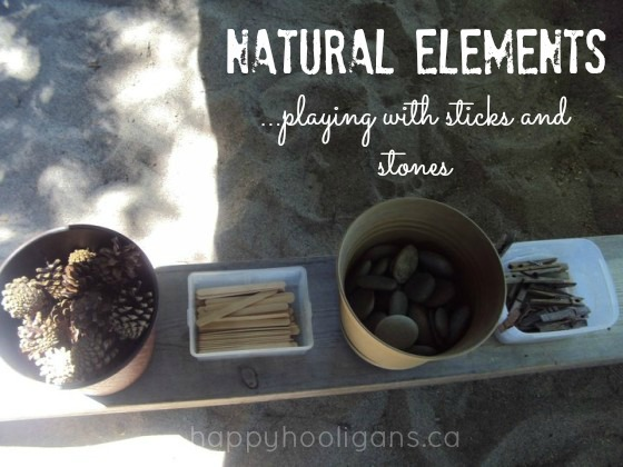 natural elements - playing with sticks and stones