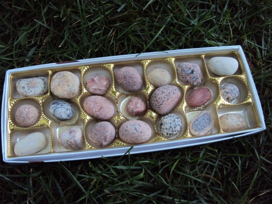 Fill a box of chocolates with stones for imaginary play and sorting