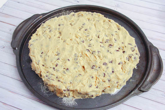 Chocolate Chip Cookie dough on pizza pan