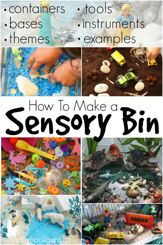 How to Make a Sensory Bin - containers themes bases tools instruments and examples
