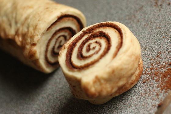uncooked cinnamon roll slice