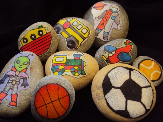 Story Stones with sports and vehicles