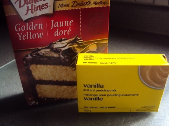 boxed golden cake mix and boxed vanilla pudding mix