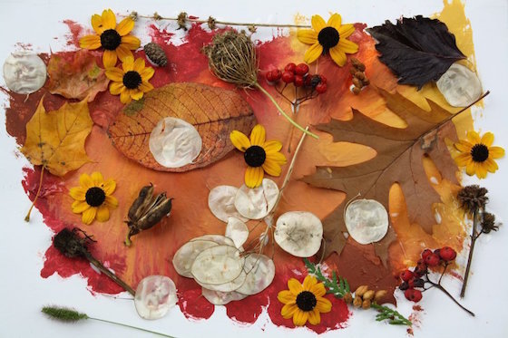 finished fall collage made by toddlers