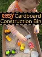 Construction Site Sensory Bin in a Cardboard Box