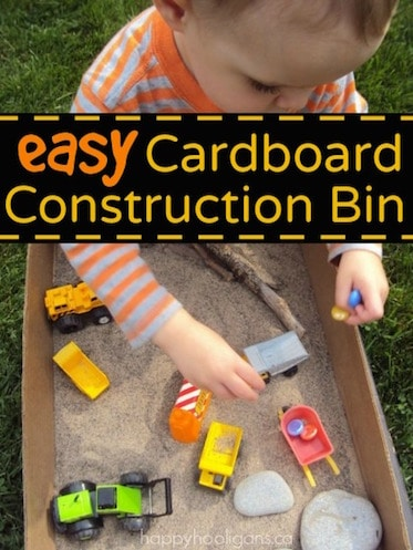Construction Site Sensory Bin in a Cardboard Box