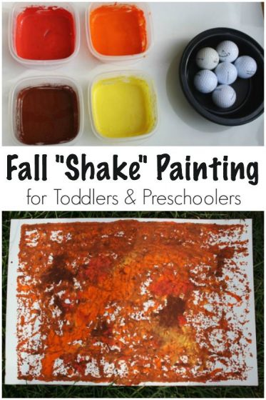 Fall Art Activity for Toddlers - Shake Painting with Golf Balls - Happy Hooligans
