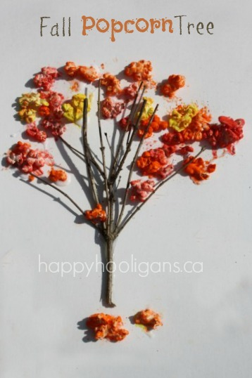 Fall Popcorn Tree Craft {for Preschoolers}