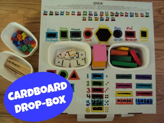 homemade fine motor drop box activity for kids