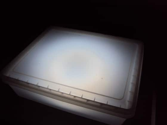 homemade light box with camping light and opaque container