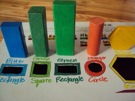 building blocks on cardboard box
