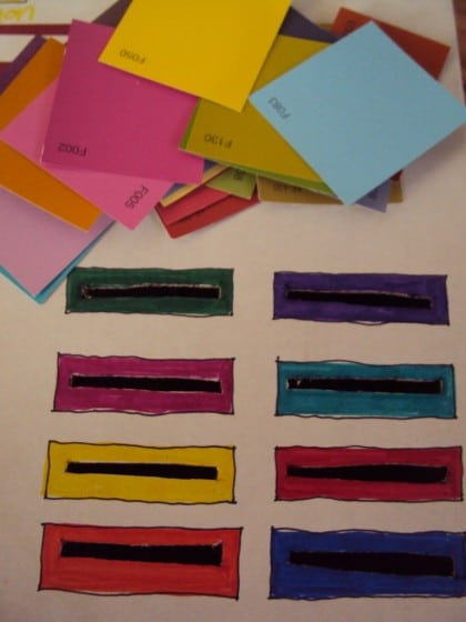 paint swatches on the cardboard box