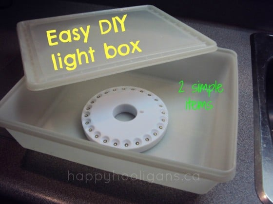 homemade light box for under 10 happy hooligans. Black Bedroom Furniture Sets. Home Design Ideas