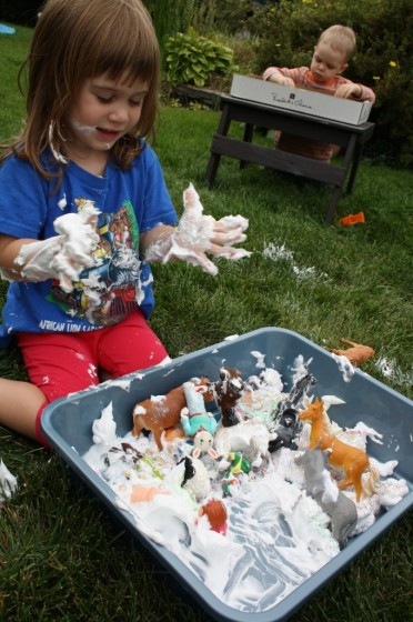 shaving cream and glitter sensory bin