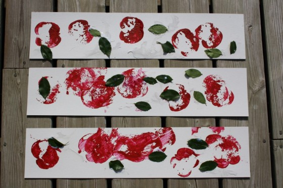 apple stamping art made by toddlers and preschoolers