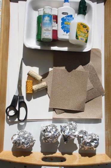 sandpaper, paint, glue, corks, foil