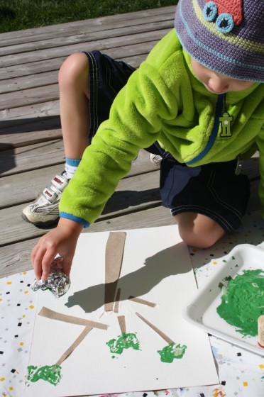 stamping with tinfoil for sandpaper apple trees