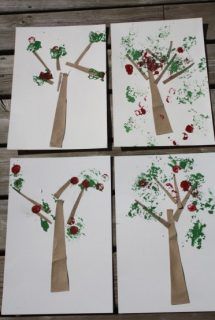 Apple Tree Craft with Foil, Corks and Sandpaper