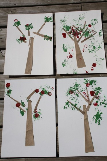 4 apple tree crafts made by toddlers