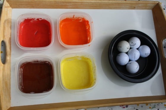 supplies for painting fall colours with golf balls