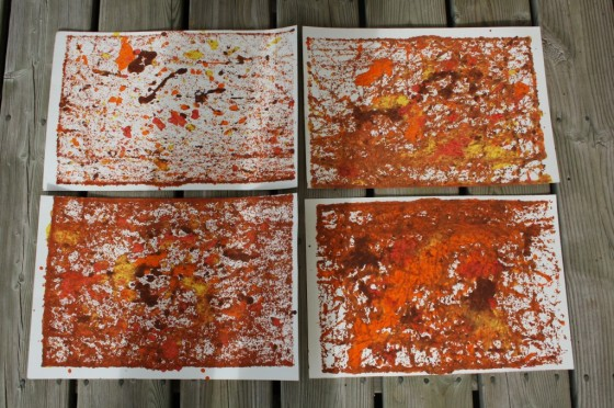 abstract fall art created by toddlers and preschoolers