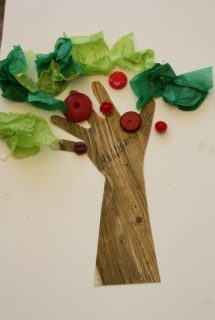 Hand Print Apple Tree Craft with Tissue Paper and Buttons