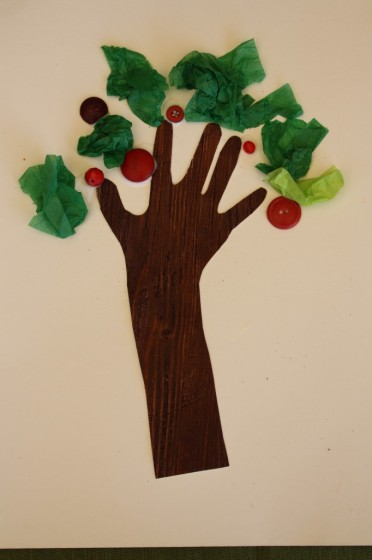 tissue paper, red buttons, brown textured paper for preschool apple tree craft