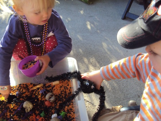 a bin of black and orange lentils for halloween sensory play