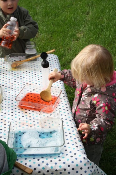 coloured water mixing activity for kids