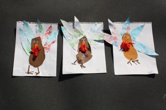 turkey footprint craft - 3 turkeys