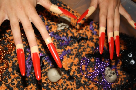 "fake ""witches nails"" are great in a hallowe'en sensory bin"