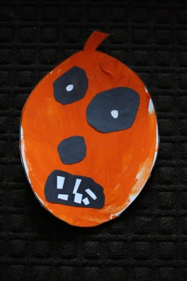 paper jack o lantern made by toddler