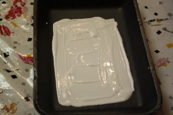 white paint for print making with toddlers