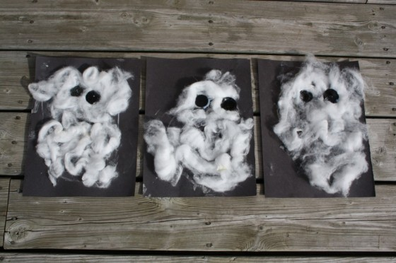 3 cotton ball ghosts made by toddlers and preschoolers