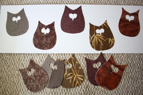 owls cut out of wallpaper samples