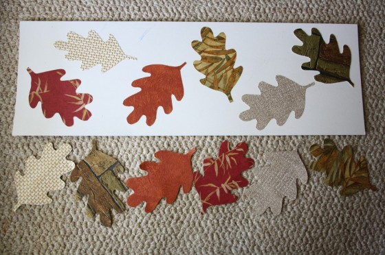 fall leaves cut out of wall paper samples