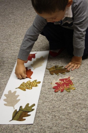 Toddler matching fall leaf shapes