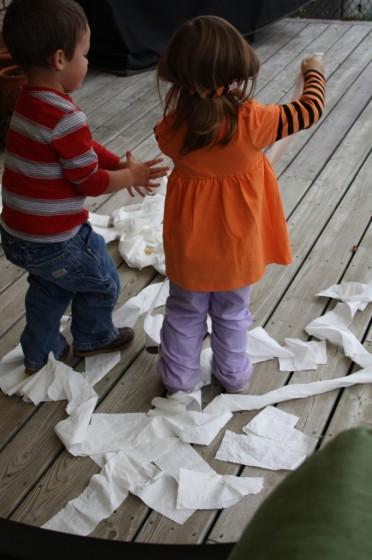 Preschoolers making Clean Mud in the daycare