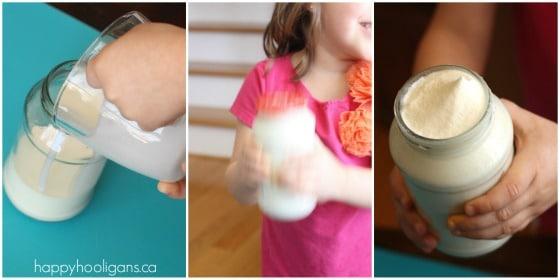 making homemade butter in a jar