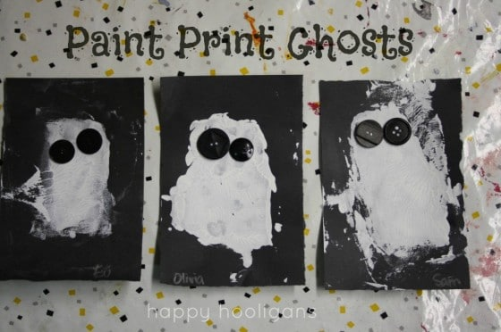 Paint Print Ghosts - Halloween Art for Toddlers and Preschoolers