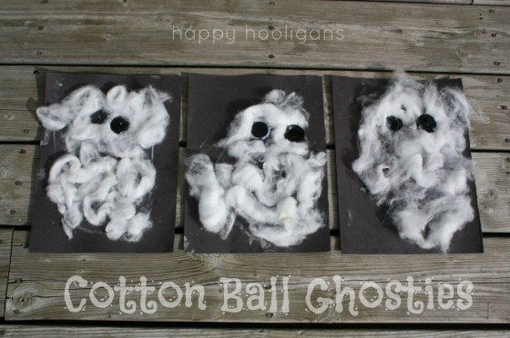 Cotton Ball Ghost Craft for Toddlers to Make for Halloween