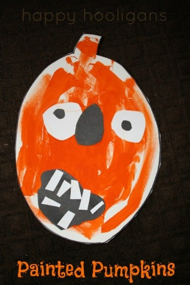 Painted Pumpkin Craft made by a toddler