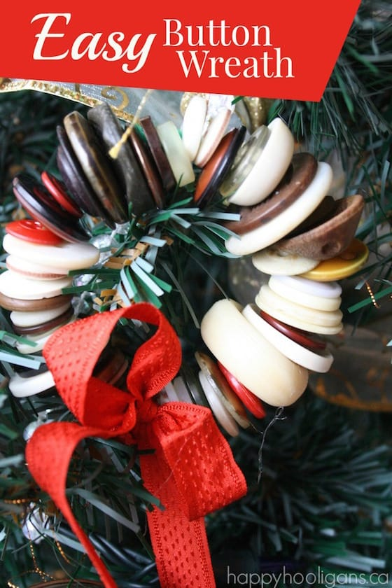 close up button wreath with red ribbon