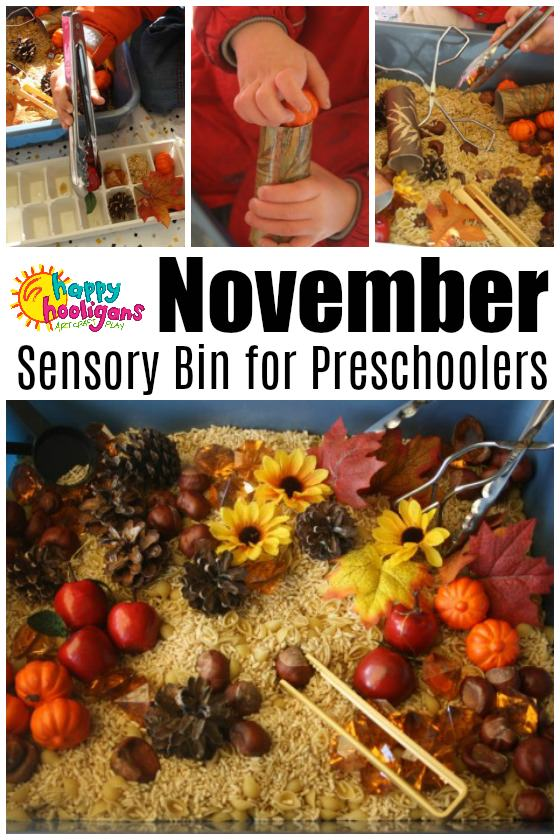 November Sensory Bin for Toddlers and Preschoolers