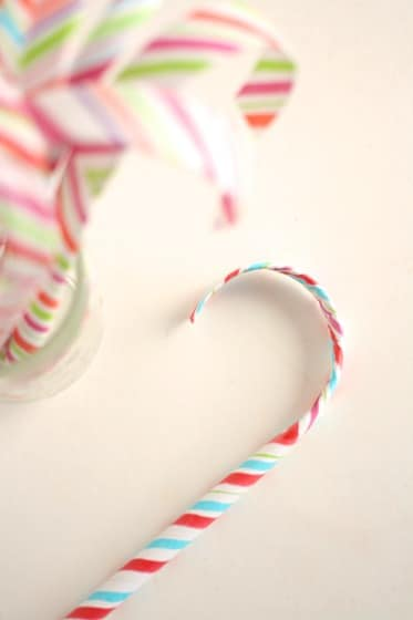 jar of paper candy cane ornaments