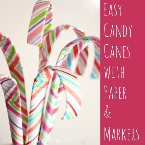 easy paper candy canes with paper and markers